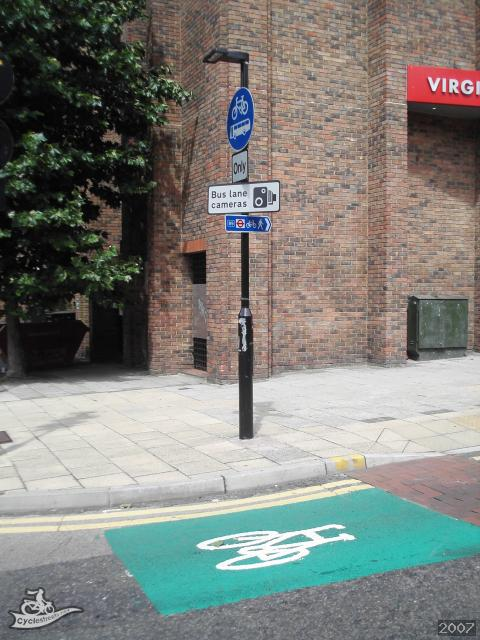 Cyclestreets Bike Symbol At Entry To Bus Bike Only Street Vine