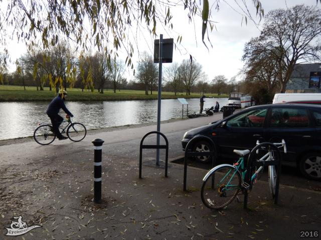 CycleStreets » Cycle stands at the start of the Cam towpath (and a